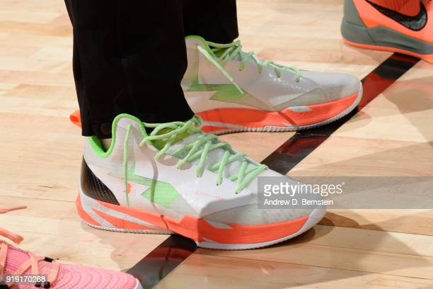 the sneakers worn by Lonzo Ball of the USA team are seen during the Mountain Dew Kickstart Rising Stars Game during AllStar Friday Night as part of...