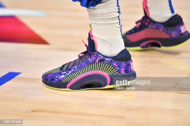 The sneakers worn by Luka Doncic of the Dallas Mavericks before the game against the Cleveland Cavaliers on May 7, 2021 at the American Airlines...