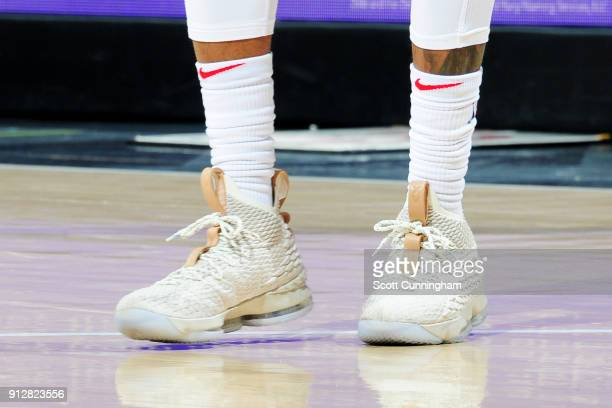 the sneakers worn by Malcolm Delaney of the Atlanta Hawks are seen during the game against the Charlotte Hornets on January 31 2018 at Philips Arena...