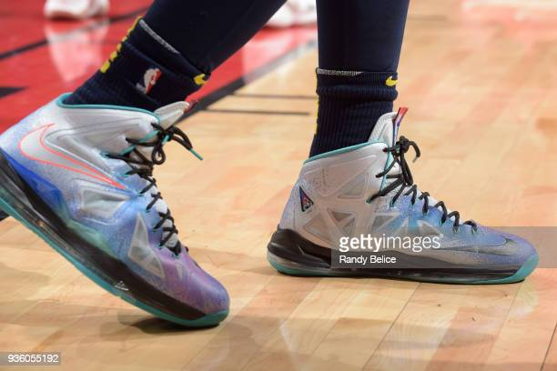 the sneakers worn by Malik Beasley of the Denver Nuggets are seen during the game against the Chicago Bulls on March 21 2018 at the United Center in...