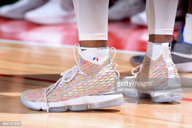 the sneakers worn by Malik Beasley of the Denver Nuggets are seen against the the Boston Celtics during the 2018 Las Vegas Summer League on July 7...