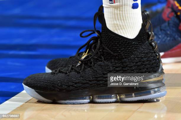 the sneakers worn by Markelle Fultz of the Philadelphia 76ers are seen during the game against the Cleveland Cavaliers on April 6 2018 in...