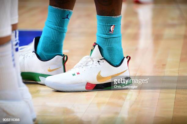 the sneakers worn by Marvin Williams of the Charlotte Hornets are seen during the game against the Detroit Pistons on January 15 2018 at Little...