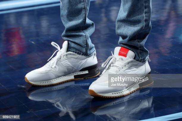 the sneakers worn by Mike Conley of the Memphis Grizzlies are seen during the game against the Portland Trail Blazers on March 28 2018 at FedExForum...