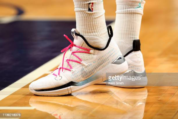 The sneakers worn by Miles Bridges of the Charlotte Hornets during the game against the Orlando Magic on April 10 2019 at Spectrum Center in...