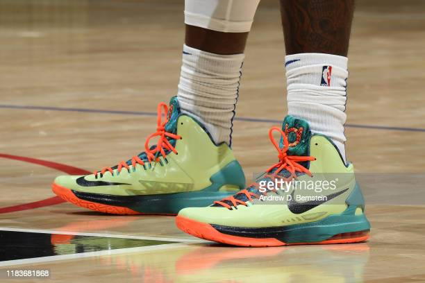 The sneakers worn by Montrezl Harrell of the LA Clippers against the Boston Celtics on November 20 2019 at STAPLES Center in Los Angeles California...