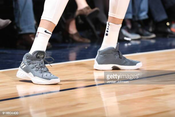 the sneakers worn by Nemanja Bjelica of the Minnesota Timberwolves are seen during the game against the Los Angeles Lakers on February 15 2018 at...