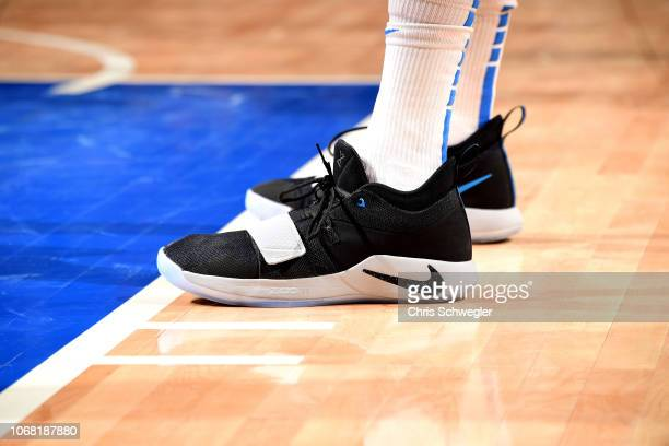 The sneakers worn by Nerlens Noel of the Oklahoma City Thunder against the Detroit Pistons on December 3 2018 at Little Caesars Arena in Detroit...