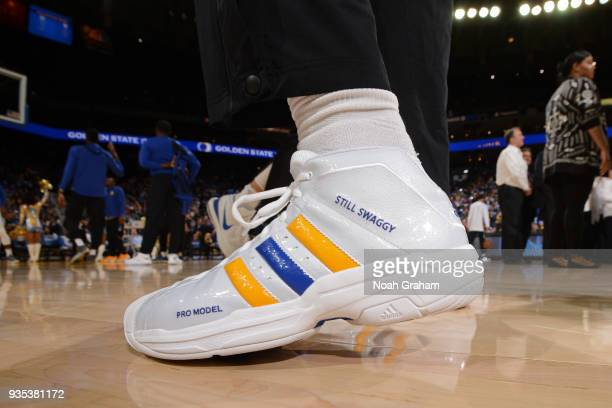 the sneakers worn by Nick Young of the Golden State Warriors are seen during the game against the Sacramento Kings on March 16 2018 at ORACLE Arena...