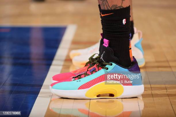 The sneakers worn by Obi Toppin of the New York Knicks during the game against the Los Angeles Lakers on April 12, 2021 at Madison Square Garden in...