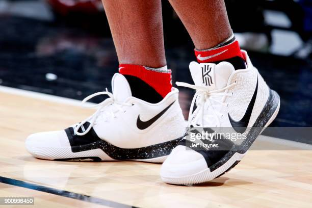 the sneakers worn by OG Anunoby of the Toronto Raptors are seen during the game against the Chicago Bulls on January 3 2018 at the United Center in...