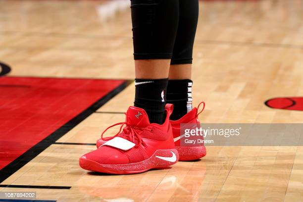 The sneakers worn by Omari Spellman of the Atlanta Hawks against the Chicago Bulls on January 23 2019 at the United Center in Chicago Illinois NOTE...