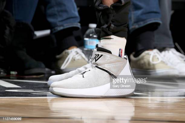 The sneakers worn by Pat Connaughton of the Milwaukee Bucks during the game against the Chicago Bulls on February 25 2019 at the United Center in...