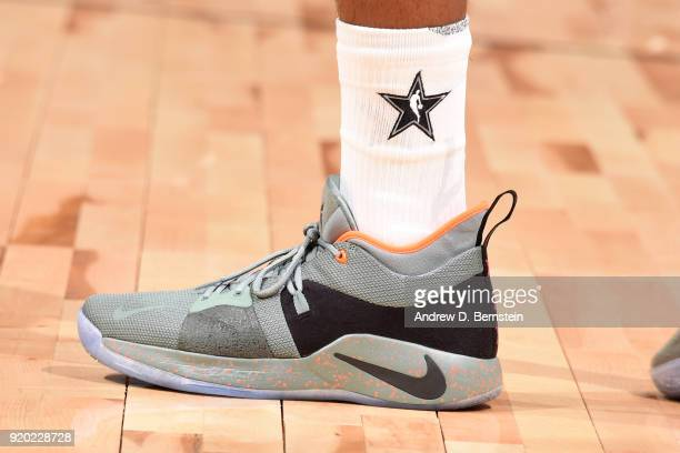 the sneakers worn by Paul George Of Team LeBron are seen during the NBA AllStar Game as a part of 2018 NBA AllStar Weekend at STAPLES Center on...