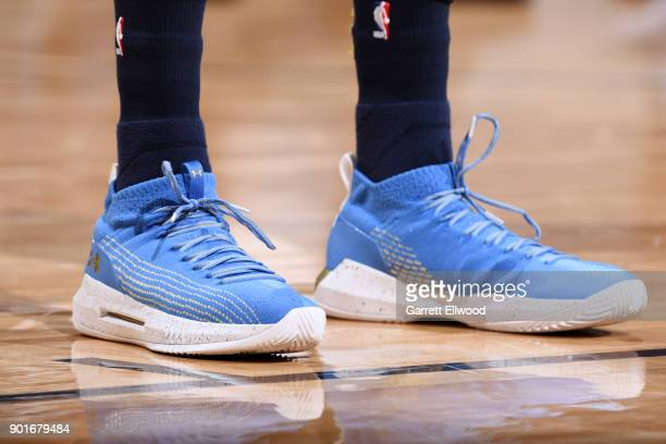 the sneakers worn by Paul Millsap of the Denver Nuggets are seen during the game against the Utah Jazz on January 5 2018 at the Pepsi Center in...