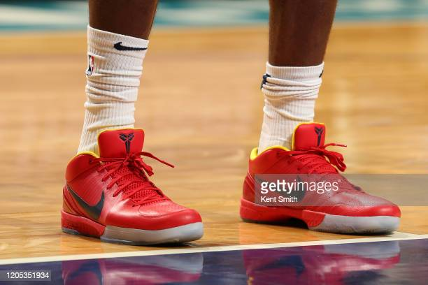 The sneakers worn by Paul Millsap of the Denver Nuggets during the game against the Charlotte Hornets on March 5 2020 at Spectrum Center in Charlotte...