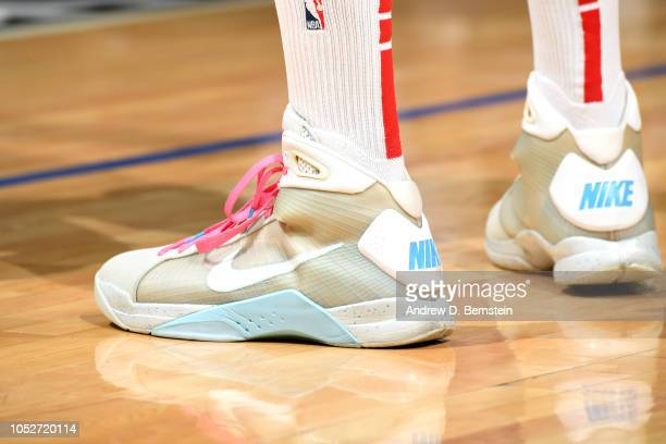 The sneakers worn by PJ Tucker of the Houston Rockets against the LA Clippers on October 21 2018 at Staples Center in Los Angeles California NOTE TO...