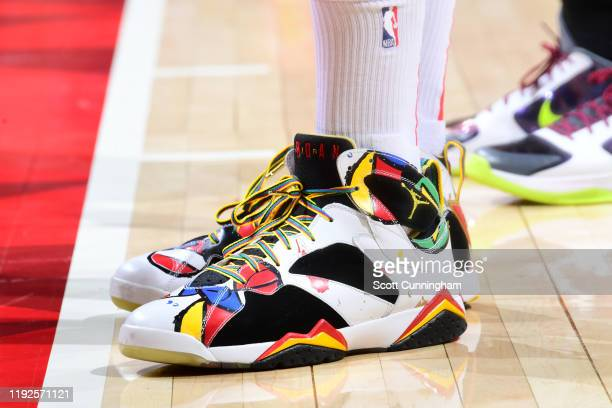 The sneakers worn by PJ Tucker of the Houston Rockets against the Atlanta Hawks on January 8 2020 at State Farm Arena in Atlanta Georgia NOTE TO USER...