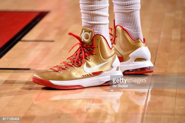 the sneakers worn by PJ Tucker of the Houston Rockets are seen during the game against the Dallas Mavericks on February 11 2018 at the Toyota Center...