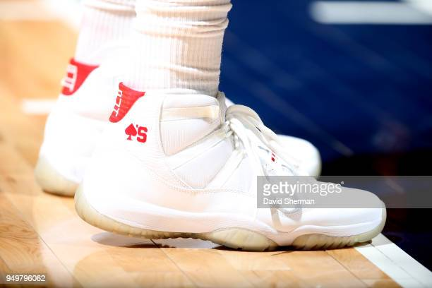 the sneakers worn by PJ Tucker of the Houston Rockets are seen in Game Three of Round One of the 2018 NBA Playoffs against the Minnesota Timberwolves...
