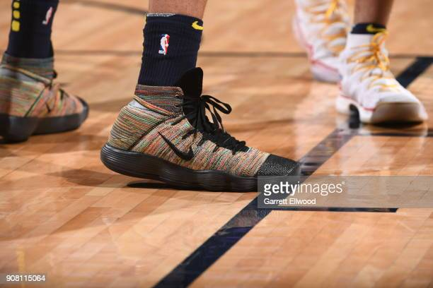 the sneakers worn by Richard Jefferson of the Denver Nuggets are seen during the game against the Phoenix Suns on January 19 2018 at the Pepsi Center...