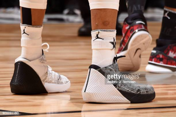 the sneakers worn by Russell Westbrook Of Team LeBron are seen during the NBA AllStar Game as a part of 2018 NBA AllStar Weekend at STAPLES Center on...