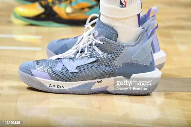 The sneakers worn by Russell Westbrook of the Los Angeles Lakers during the game against the Golden State Warriors on October 19, 2021 at STAPLES...