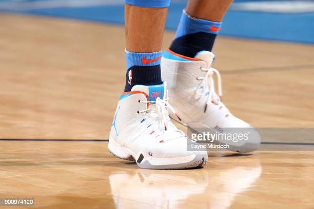 the sneakers worn by Russell Westbrook of the Oklahoma City Thunder are seen during the game against the Houston Rockets on December 25 2017 at...