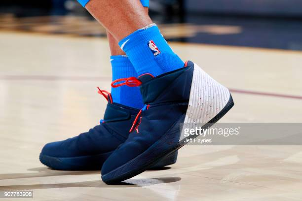 the sneakers worn by Russell Westbrook of the Oklahoma City Thunder are seen during the game against the Cleveland Cavaliers on January 20 2018 at...