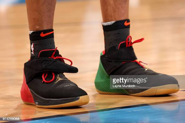the sneakers worn by Russell Westbrook of the Oklahoma City Thunder are seen during the game against the Los Angeles Lakers on February 4 2018 at...