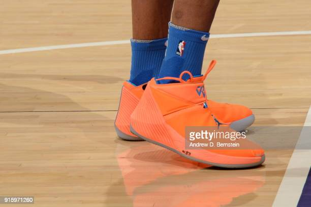 the sneakers worn by Russell Westbrook of the Oklahoma City Thunder are seen during the game against the Los Angeles Lakers on February 8 2018 at...