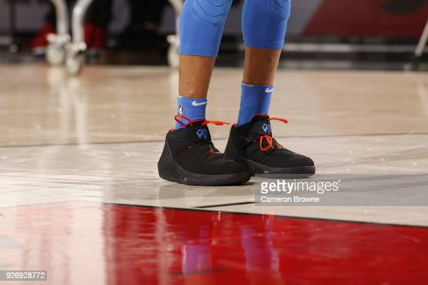 the sneakers worn by Russell Westbrook of the Oklahoma City Thunder are seen during the game against the Portland Trail Blazers on March 3 2018 at...