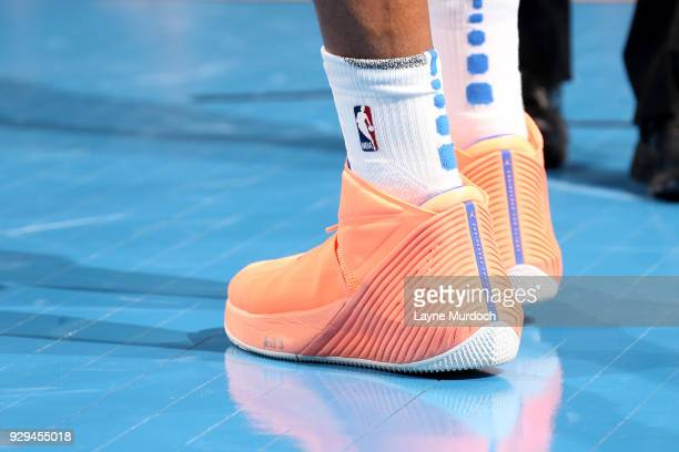 the sneakers worn by Russell Westbrook of the Oklahoma City Thunder are seen during the game against the Phoenix Suns on March 8 2018 at Chesapeake...