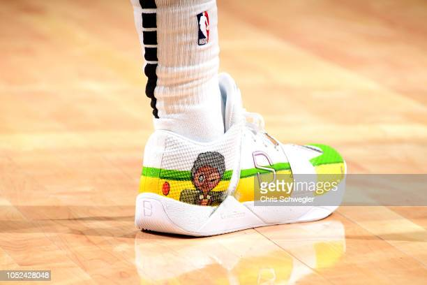 The sneakers worn by Spencer Dinwiddie of the Brooklyn Nets against the Detroit Pistons during a game on October 17 2018 at Little Caesars Arena in...