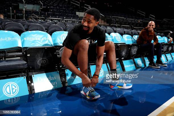 The sneakers worn by Spencer Dinwiddie of the Brooklyn Nets against the New York Knicks on October 29 2018 at Madison Square Garden in New York City...