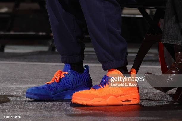 The sneakers worn by Spike Lee during the game between the Los Angeles Lakers and the New York Knicks on April 12, 2021 at Madison Square Garden in...