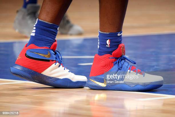 the sneakers worn by Stanley Johnson of the Detroit Pistons are seen during the game against the Los Angeles Lakers on March 26 2018 at Little...