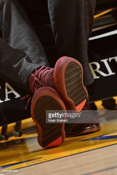 the sneakers worn by Stephen Curry of the Golden State Warriors are seen during the game against the Sacramento Kings on March 16 2018 at ORACLE...