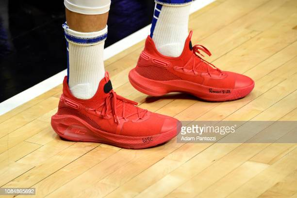 The sneakers worn by Stephen Curry of the Golden State Warriors against the LA Clippers on January 18 2019 at STAPLES Center in Los Angeles...
