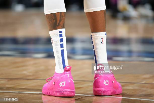 The sneakers worn by Stephen Curry of the Golden State Warriors against the Minnesota Timberwolves on March 19 2019 at Target Center in Minneapolis...