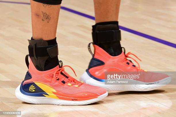 The sneakers worn by Stephen Curry of the Golden State Warriors during the 2021 NBA Play-In Tournament on May 19, 2021 at STAPLES Center in Los...