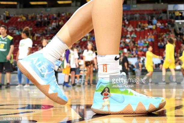 The sneakers worn by Sue Bird of the Seattle Storm during the game against the New York Liberty on August 17 2018 at Key Arena in Seattle Washington...
