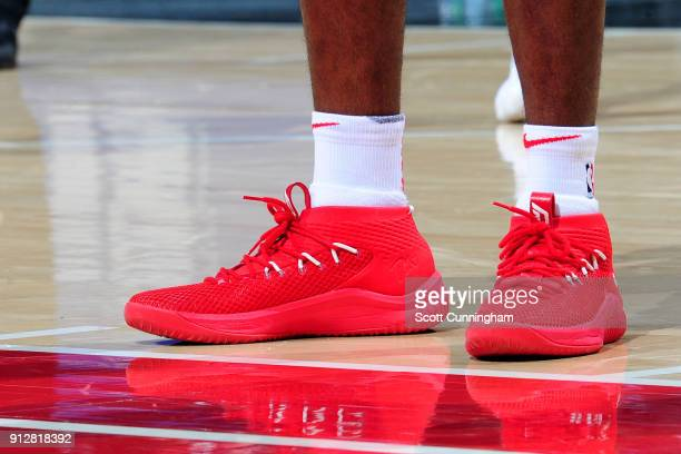 the sneakers worn by Taurean Prince of the Atlanta Hawks are seen during the game against the Charlotte Hornets on January 31 2018 at Philips Arena...