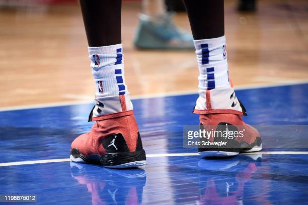 The sneakers worn by Thon Maker of the Detroit Pistons during the game against the Phoenix Suns on February 5, 2020 at Little Caesars Arena in...