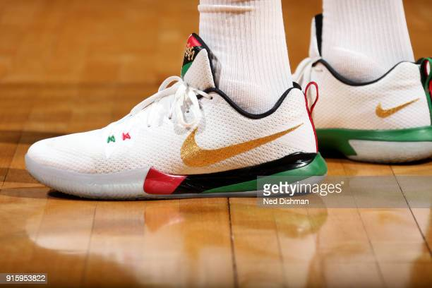 the sneakers worn by Tim Frazier of the Washington Wizards are seen during the game against the Boston Celtics on February 8 2018 at Capital One...
