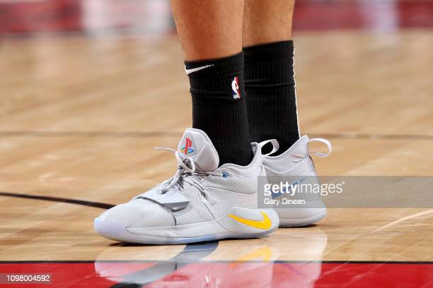The sneakers worn by Timothe LuwawuCabarrot of the Chicago Bulls during the game against the Milwaukee Bucks on February 11 2019 at the United Center...