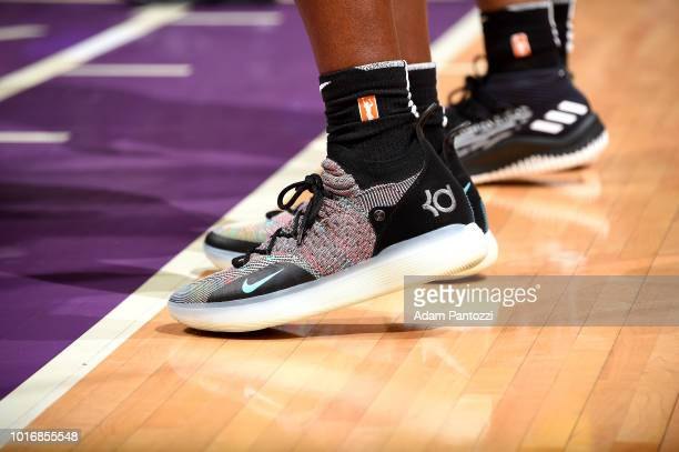 The sneakers worn by Tina Charles of the New York Liberty during the game against the Los Angeles Sparks on August 14 2018 at Staples Center in Los...