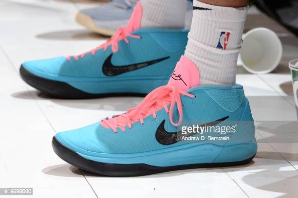 the sneakers worn by Tobias Harris of the LA Clippers are seen during the JBL ThreePoint Contest during State Farm AllStar Saturday Night as part of...