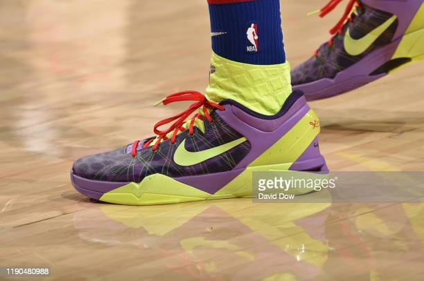 The sneakers worn by Tobias Harris of the Philadelphia 76ers against the Milwaukee Bucks on December 25 2019 at the Wells Fargo Center in...
