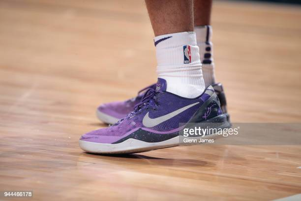 the sneakers worn by Tyler Ulis of the Phoenix Suns are seen during the game against the Dallas Mavericks on April 10 2018 at the American Airlines...